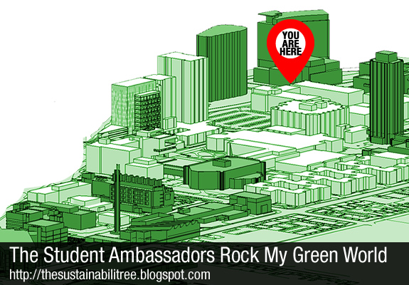 an image of the uOttawa campus tinted green for a presentation to the student ambassadors