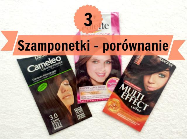 Porównanie 3 szamponów koloryzujących: Palette, Joanna, Delia