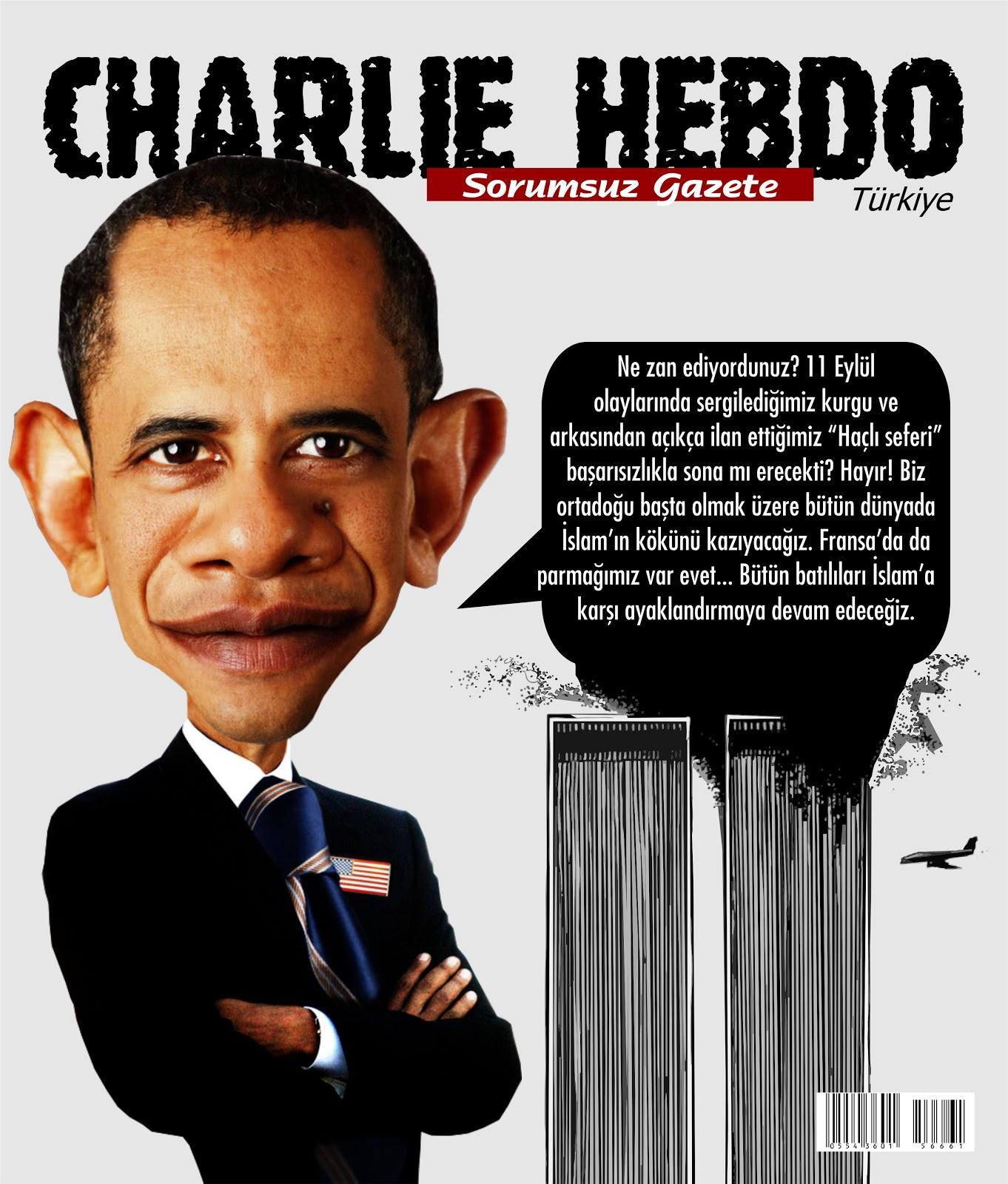 """Charlie Hebdo Türkiye'nin """"Obama'nın itirafı"""" özel sayısı"""