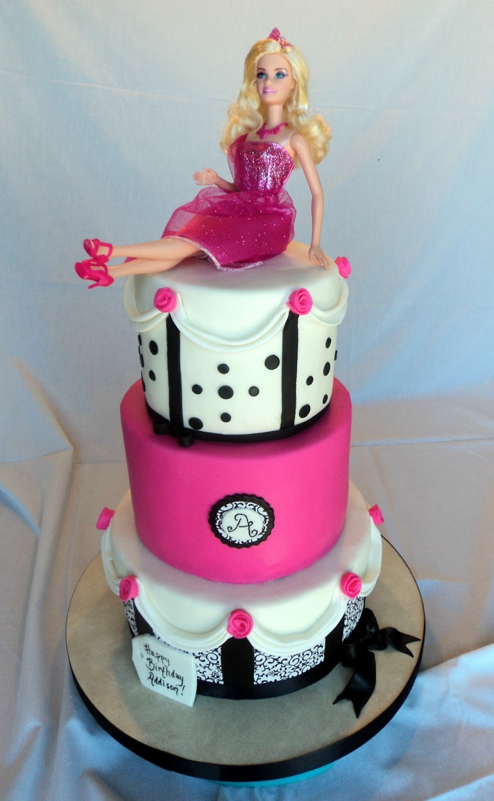 Delectable Cakes Hot Pink Black And White Barbie Birthday Cake