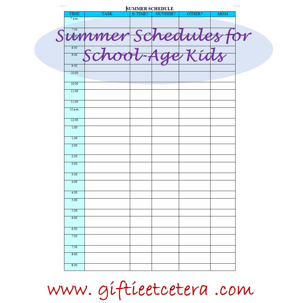 summer, chores, schedule, planner printables