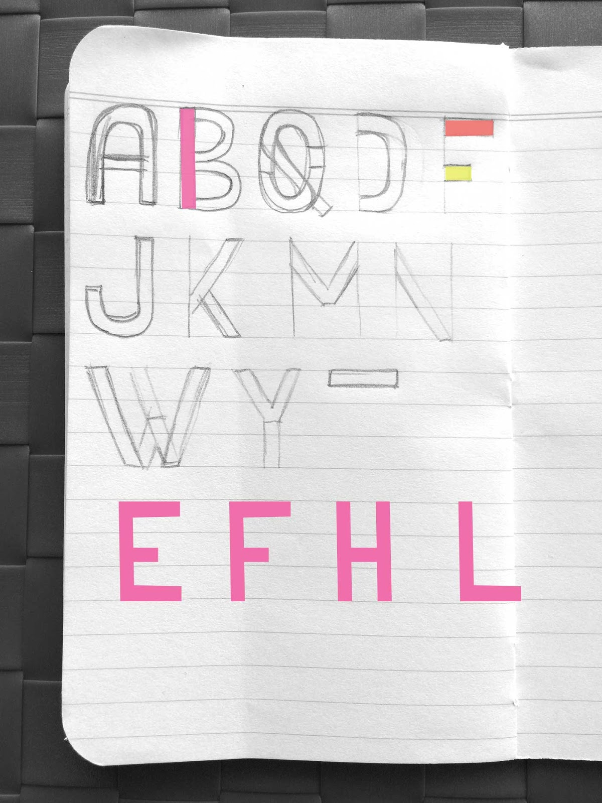 Drawing letters E, F, H, L - Create a font with minimal sketching