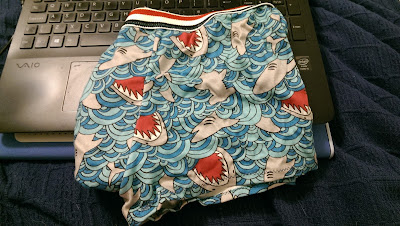 boxer shorts wih pictures of sharks on them