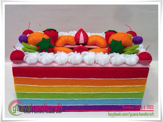 GUAVA Handicraft: Kotak Tissue Flanel - Rainbow Cake 08