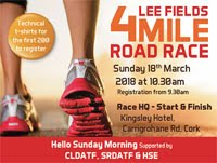 4 mile race in Cork City...Sun 18th Mar 2018