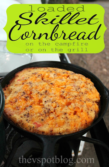 Loaded skillet cornbread, cooked on the campfire or the grill