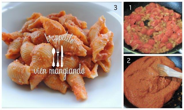 pasta con pomodori e pistacchi