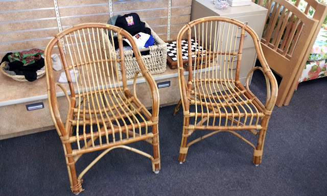 Thift store rattan wicker chairs