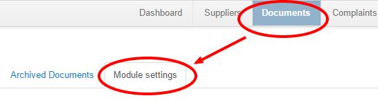 Supplier Document settings