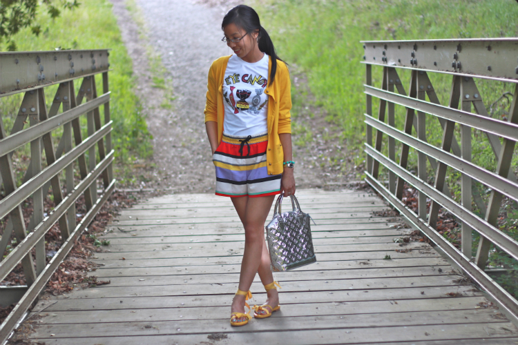 kensie striped shorts candy graphic tee nature stroll cardigan