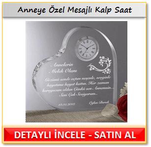 Anneye Özel Mesajlı Kalp Saat