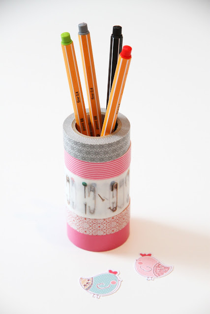 DIY Masking tape rolletjes pennenhouder Jip by Jan