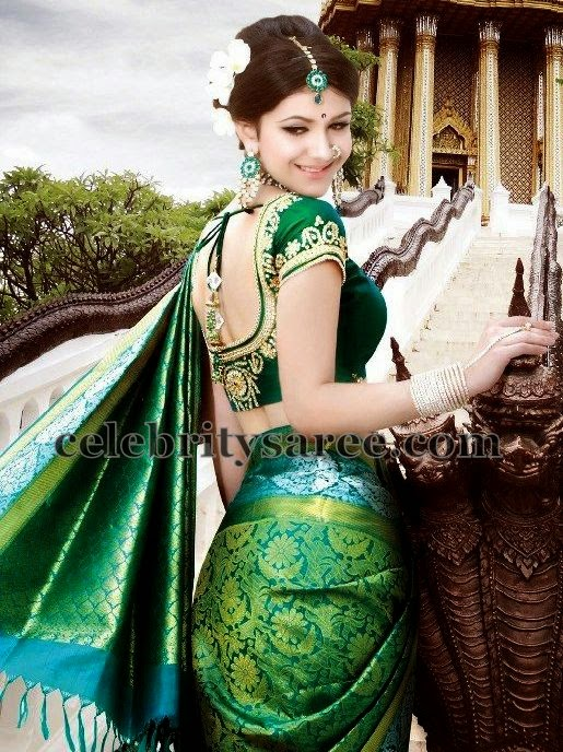 Green Bridal Saree Kundan Blouse