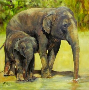 Methai and Baylor, Mother and Son Elephants