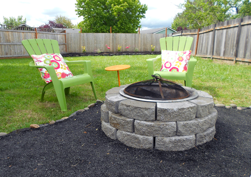 Abby backyard makeover diy crushed rock patio for Cheap backyard makeover ideas