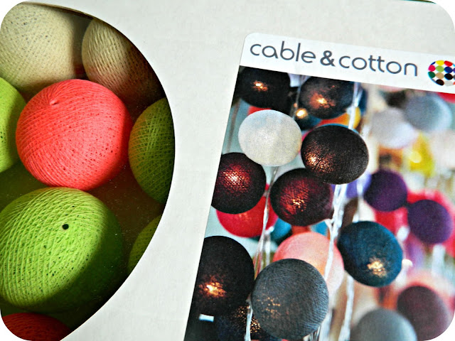 Cable & Cotton Lights String Box Pink Green Beige