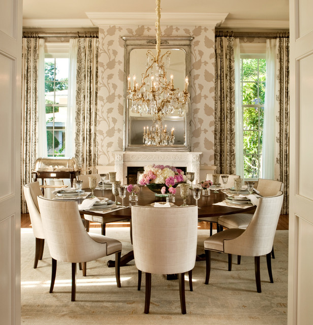 Fascinating Chandelier above the Wooden Round Dining Tables and some Brown Chairs near the Classic Chandelier