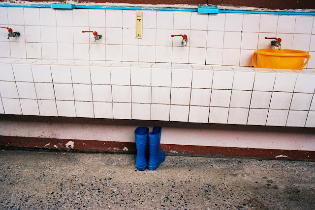 Color film Photography Bangkok of school washing area