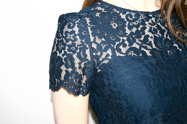 Katherine Penney Chic Blogger Fashion Haul Navy Blue Topshop Jack Wills Lace Shirt Top Peplum Pretty