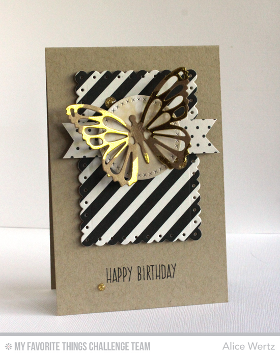 Pretty Birthday Card by Alice Wertz featuring the Flutter of Butterflies-Lace, Tag Builder Blueprints 3, and Cross-Stitch Circle STAX Die-namics #mftstamps