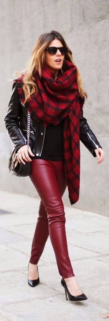 Black leather jacket with red leather pant