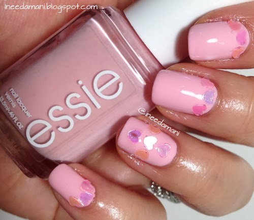 pink valentine's day nails with heart glitter