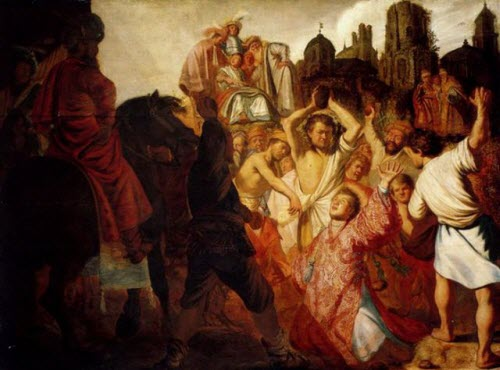 """Rembrandt, """"The Stoning of St. Stephen,"""" 1625"""