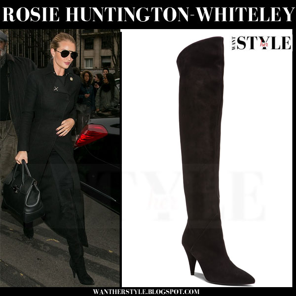 Rosie Huntington-Whiteley in long black versace coat and suede saint laurent cat boots what she wore model style