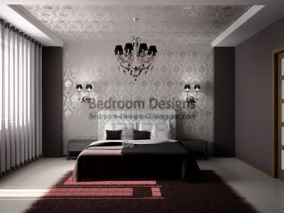 Bedroom Design Idea For Luxurious Master Bedroom With Suspended Ceiling And  Crystal Chandelier