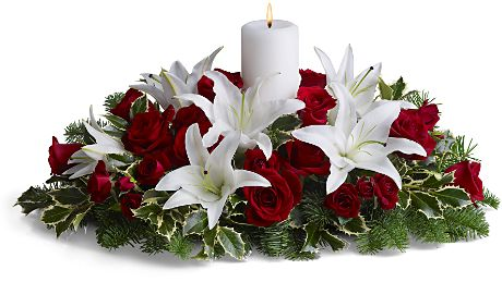 christmas flower and candle decorations - Christmas Flower Decorations