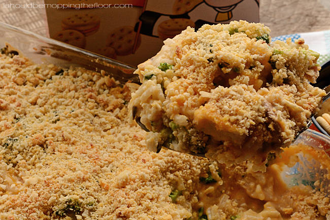 Easy and Cheesy Chicken and Rice Casserole Recipe | Kids devour this one! Chicken, Rice, Broccoli and LOADS of yumminess!