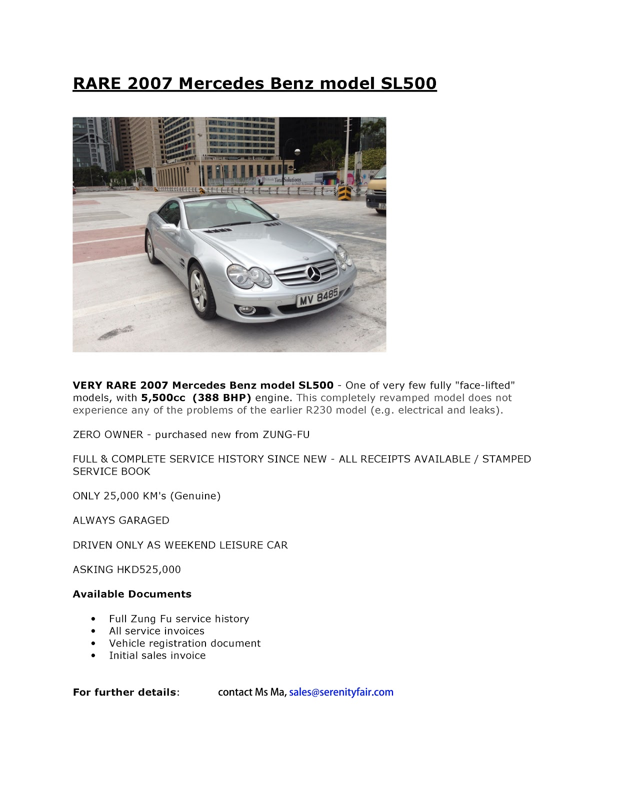 Car For Sale In Hong Kong : Mercedes Benz SL 500. Bought New From Dealer,  2007  Car For Sale Flyer