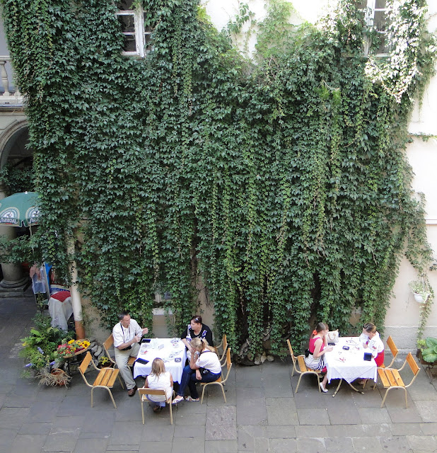 Cozy Outdoor Cafe in Italian Yard, Lviv, Ukraine