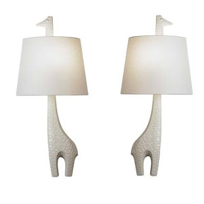 giraffe lamps high fired stoneware with a matte white glaze and hand. Black Bedroom Furniture Sets. Home Design Ideas