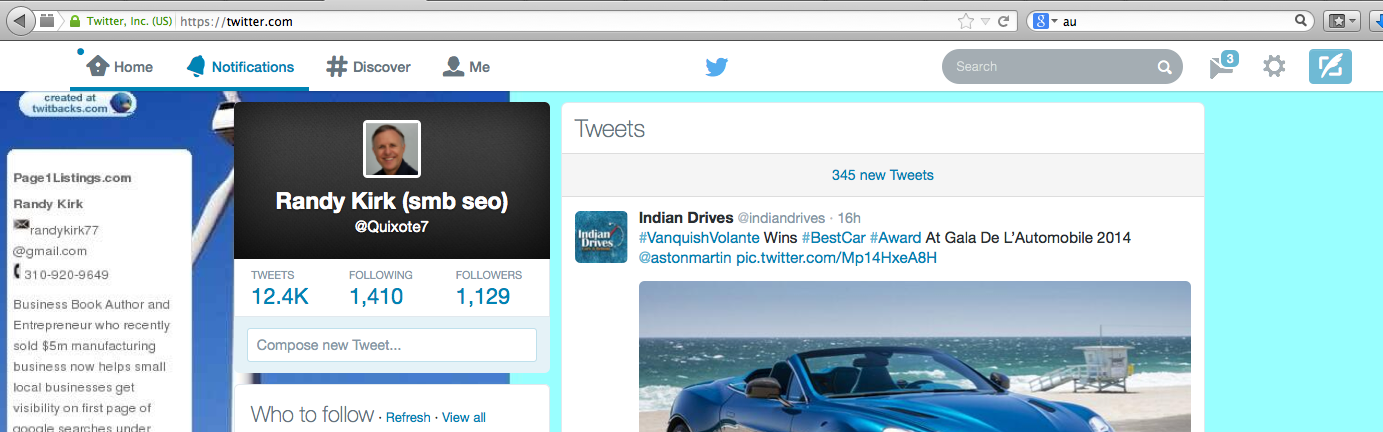 Twitter has a great search engine.  See the grey oblong box?