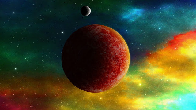 Red planets space color HD Wallpaper