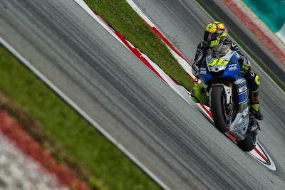 Yamaha Factory Racing's Italian rider Valentino Ross takes a corner during the third practice session at the Malaysian Grand Prix MotoGP motorcycling race.