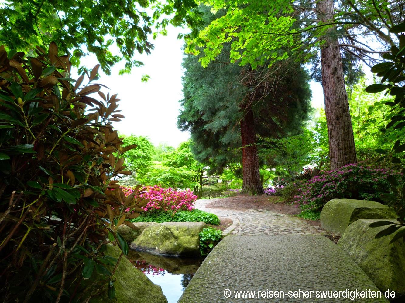 Weg im Japanischen Garten in Planten un Blomen, dem schönsten Park in Hamburg
