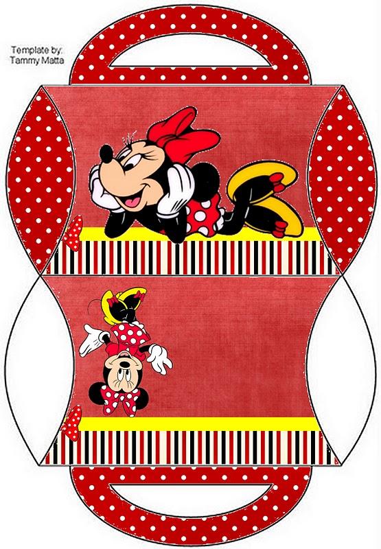 Cajas de Minnie Mouse para imprimir gratis, fondo rojo.