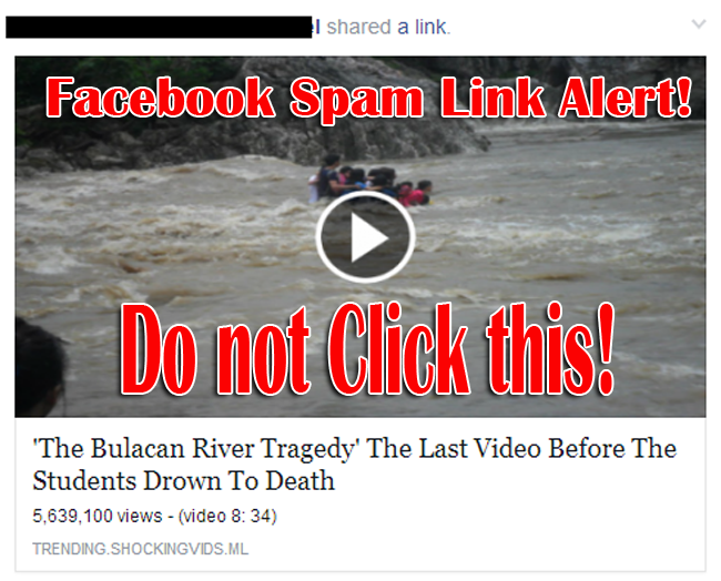 Facebook Spam Link Alert: 'The Bulacan River Tragedy' The Last Video Before The Students Drown To Death -Do not Clcik