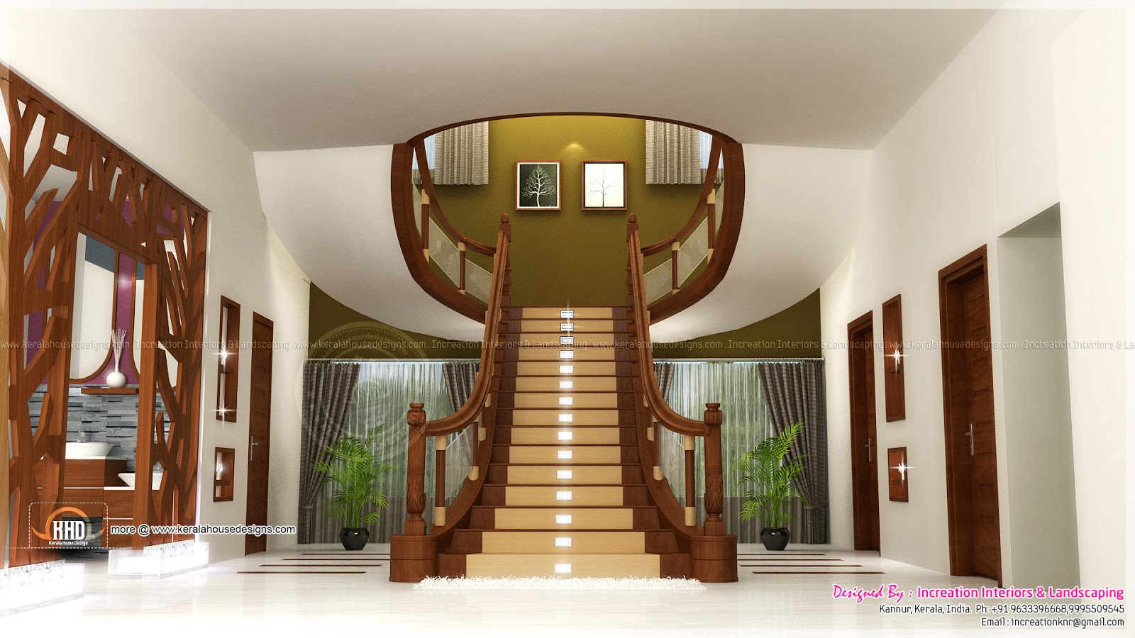Home interior designs by increation kerala home design for Hall design for medium family