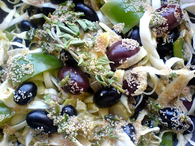 Cabbage, Grapes, Olives Salad in a Red Wine & Poppy Seed Vinaigrette