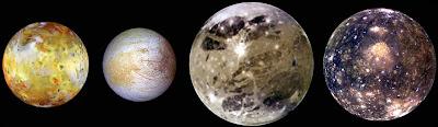 Las lunas Ío, Europa, Ganímedes y Calisto