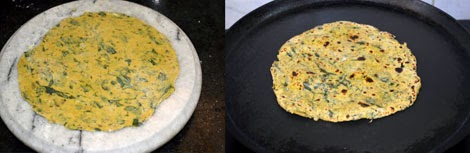 cooking methi paratha
