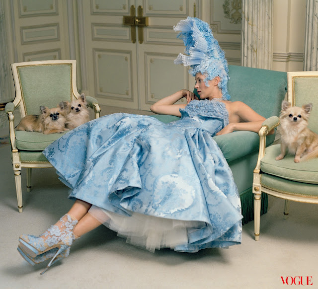 Kate moss in pastel blue in vogue magazine