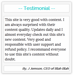 Testimonial widget for Blogger and Wordpress