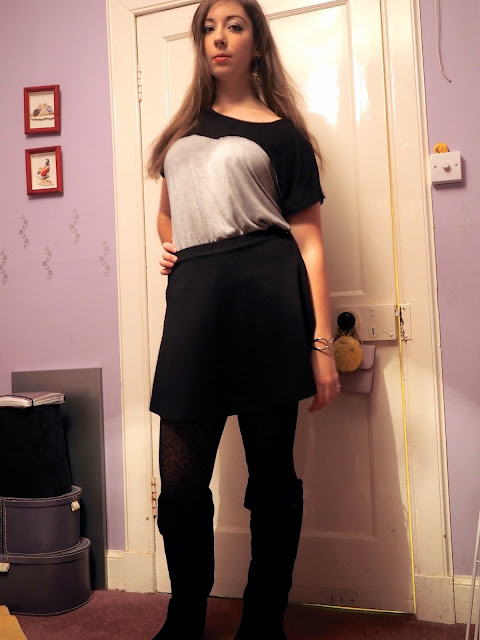 Black Suede Boots | outfit of simple grey & black top, black skater skirt & knee high black suede boots