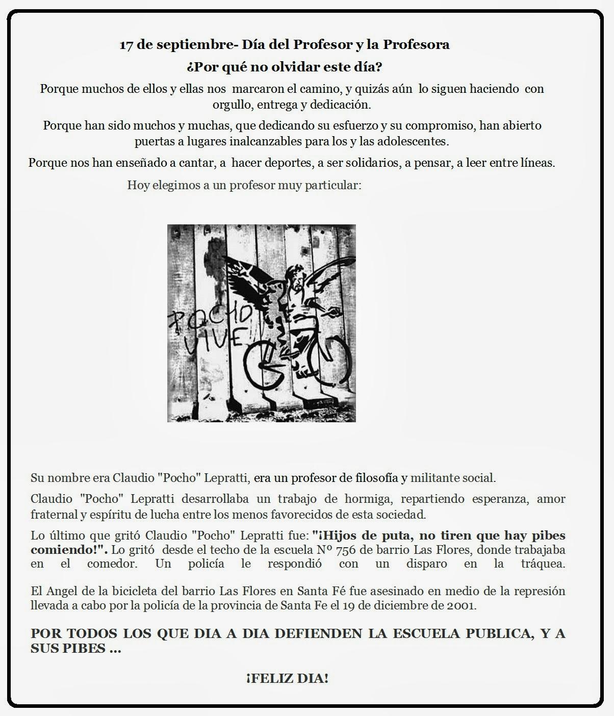 17 DE SEPTIEMBRE DIA DEL PROFESOR Y LA PROFESORA