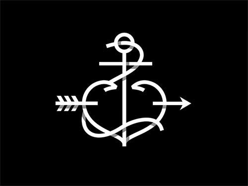 Overlapping technique Logo Anchor Heart