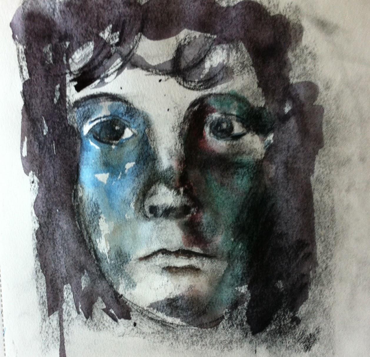 portrait,watercolor,charcoal,carboncillo,retrato